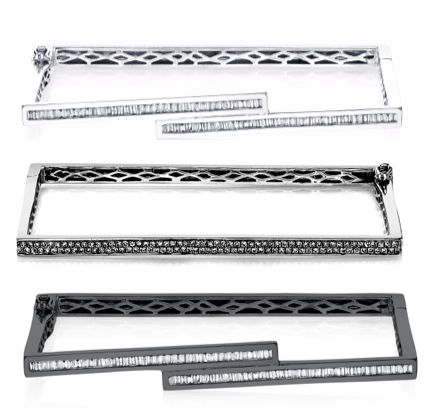 Shay Jewelry Staggered Rectangle Bangle in White Gold, $6,090; Double Row Rectangle Bangle, $3,570; Staggered Rectangle Bangle in Black Gold, $6,090;