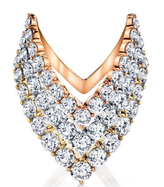 Anita Ko 18K Rose Gold, White Gold, Yellow Gold Round Diamond V Ring, $7,675