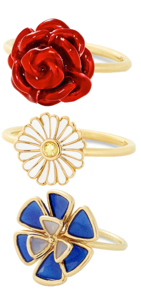 Alison Lou Rose Stack Ring in 14K Yellow Gold with Red Enamel, $1,165; Daisy Enamel Stack Ring in 14K Yellow Gold with Enamel and Yellow Sapphire, $760; Glass Enamel Ring in 14K Yellow Gold with Glass Enamel Leaves, $795
