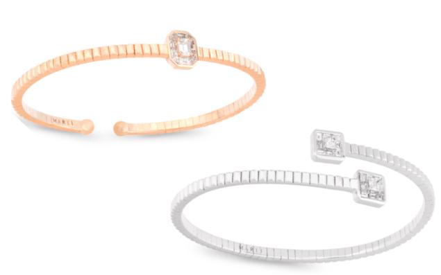 Marli Deco Slip On Bangle Wrap in 18K White Gold with White Diamonds, $5,060; Deco Slip-on Cuff 18K Rose Gold and Diamonds, $5,300