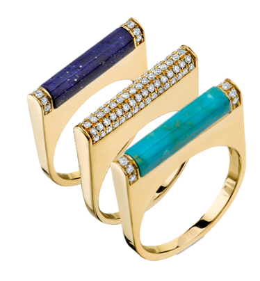 Sydney Evan Yellow-Gold and Lapis Stone Roll Ring with Pave Diamond, $1,280; Yellow-Gold and Diamond Pave Roll Ring, $2200; Yellow-Gold and Turquoise Stone Roll Ring with Pave Diamond, $1,280