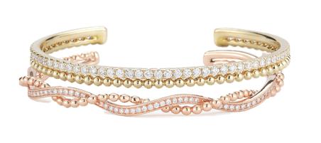 Dana Rebecca Designs Poppy Rae Cuff in 14K Rose Gold with Diamonds, $2,970; Poppy Rae Cuff in 14K Yellow Gold with Diamonds, $3,960