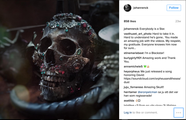 Screenshot of Johan Renck's Instagram, showing the bejeweled skull from Bowie's ★ displayed in his home.