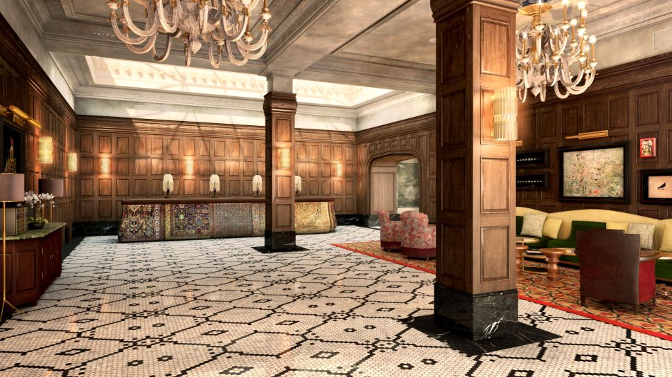 A rendering of The Beekman Lobby