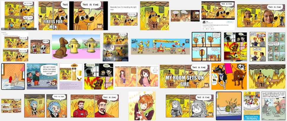 "Results from a reverse image search on Google for KC Green's ""On Fire"" comic from 2013."
