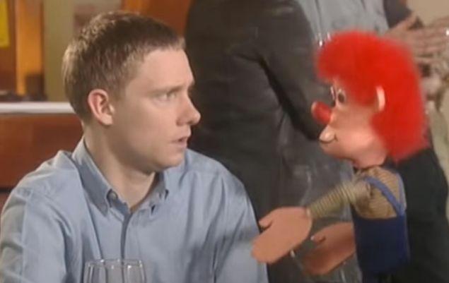 Martin Freeman and puppet in Bruiser.