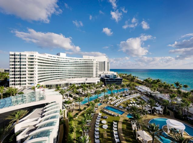 The Gathering Spot: Weddings bring on the drama at Miami Beach's most fabulous hotel, the Fontainebleau. The landmark emerged from a billion-dollar renovation (that's billion with nine zeros) with terraces, pool decks, lawns, balconies, and ballrooms to fit any fantasy, as long as it's larger than life.