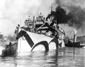 USS Orizaba with dazzle camouflage.