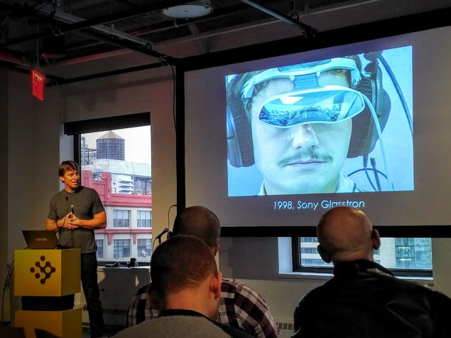 Sony engineer Richard Marks presents one of the company's early prototypes at the NYU Game Center.