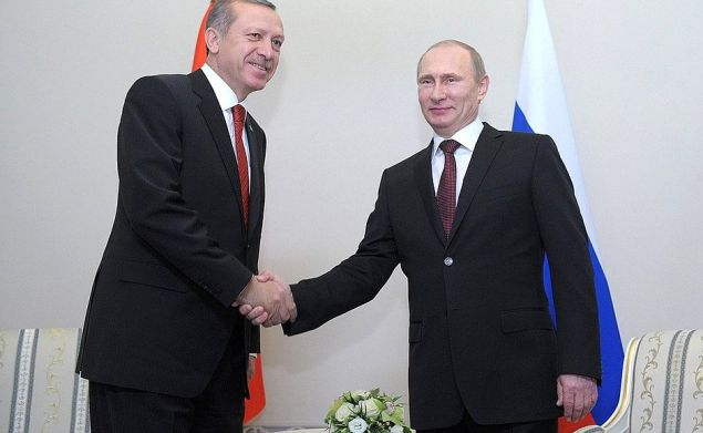 Turkish prime minister Recep Tayyip Erdoğan with his Russian counterpart, Vladimir Putin.