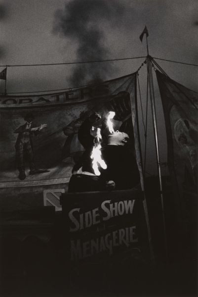 Fire Eater at a carnival, Palisades Park, N.J. 1957.