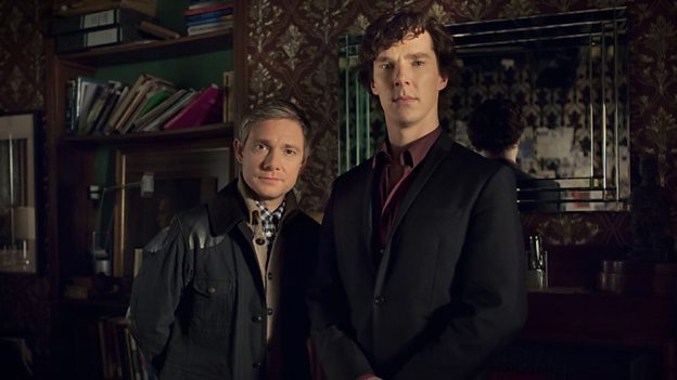 Benedict Cumberbatch (R) stars as Sherlock Holmes and Martin Freeman plays his sidekick Dr. John Watson.