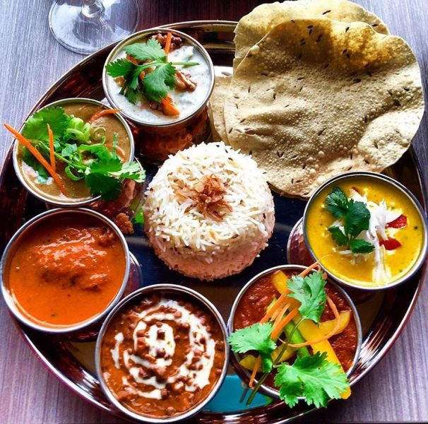 Babu Ji's tasting menu includes a curry sampler.