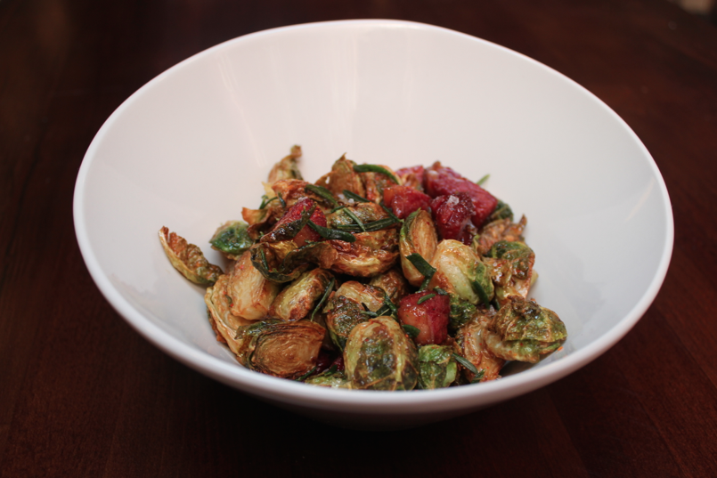 Crispy brussels sprouts with housemate pastrami