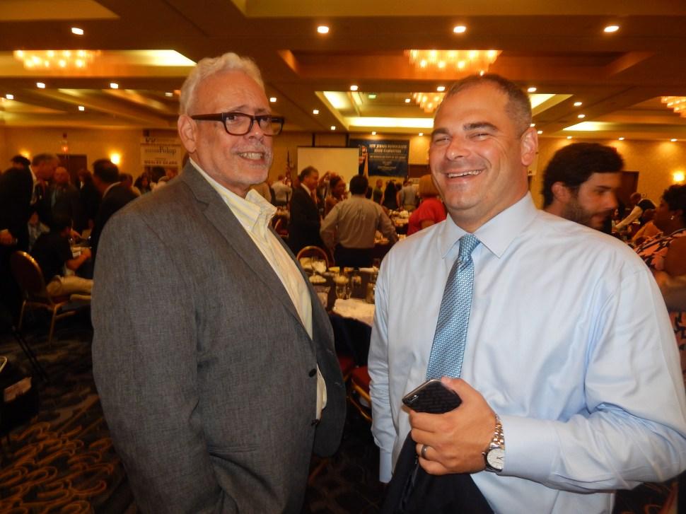 Jersey Journal political reporter/columnist emeritus Augie Torres and Fulop Chief of Staff Mark Albiez.