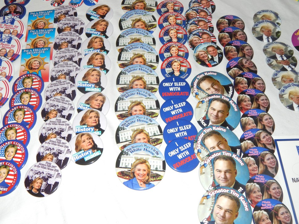 The political buttons table outside the ballroom.