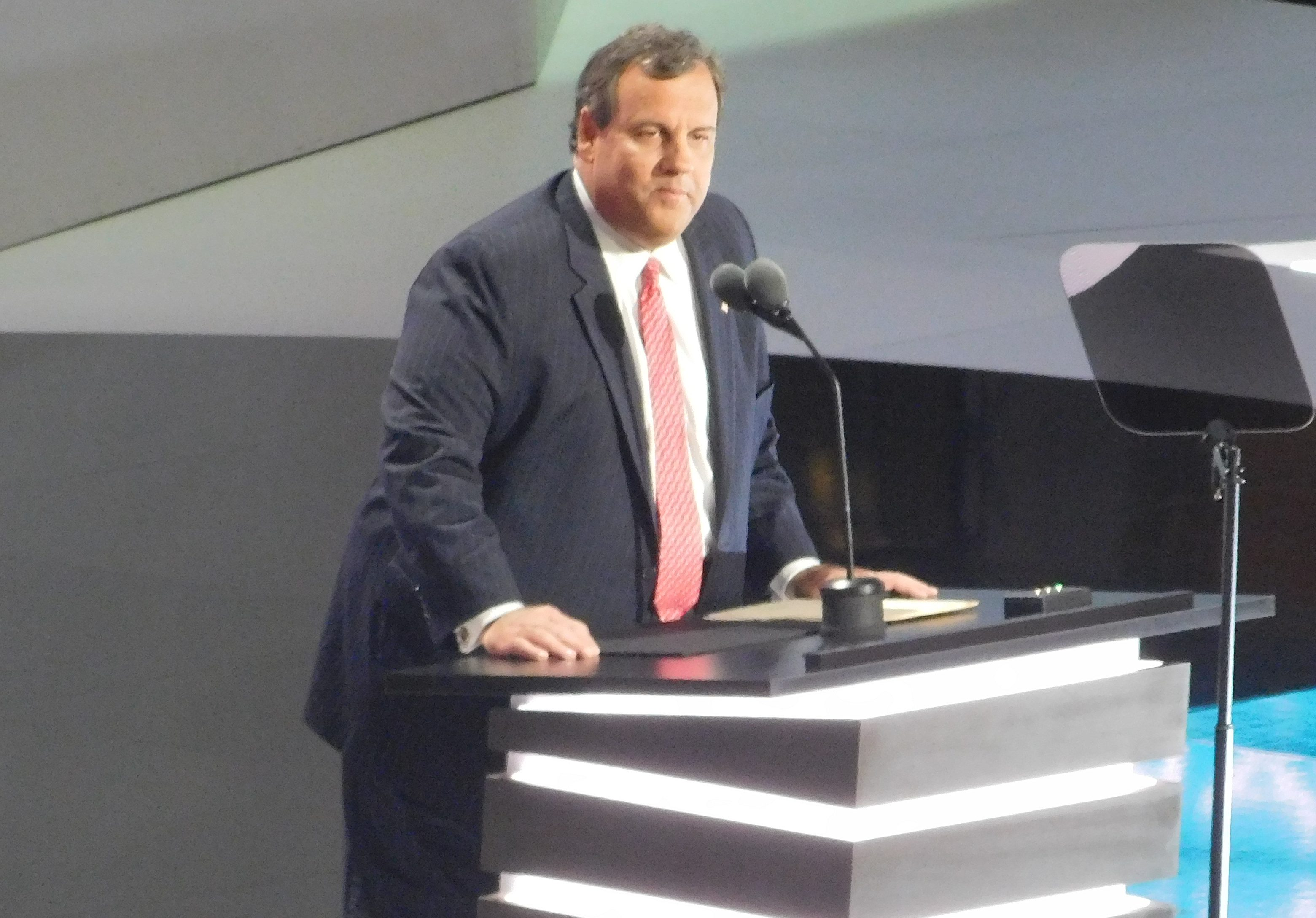 New Jersey Governor Chris Christie speaks at the RNC.