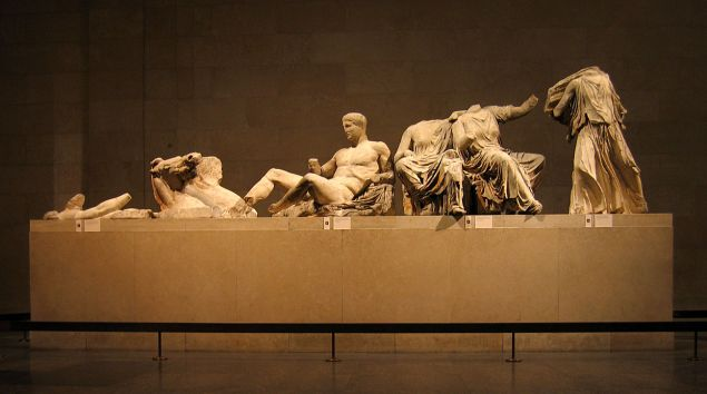 The east pediment of the Parthenon Marbles, on view at the British Museum.