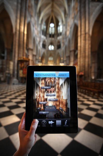 LONDON, ENGLAND - APRIL 13: In this photo illustration, the Abbey 3D App is displayed on an iPad device inside Westminster Abbey on April 13, 2011 in London, England. The ?2.99 app is an interactive guide to Westminster Abbey where Prince William and Kate Middleton will marry on April 29, 2011. Android and Apple platforms will make the app available in time for the wedding.