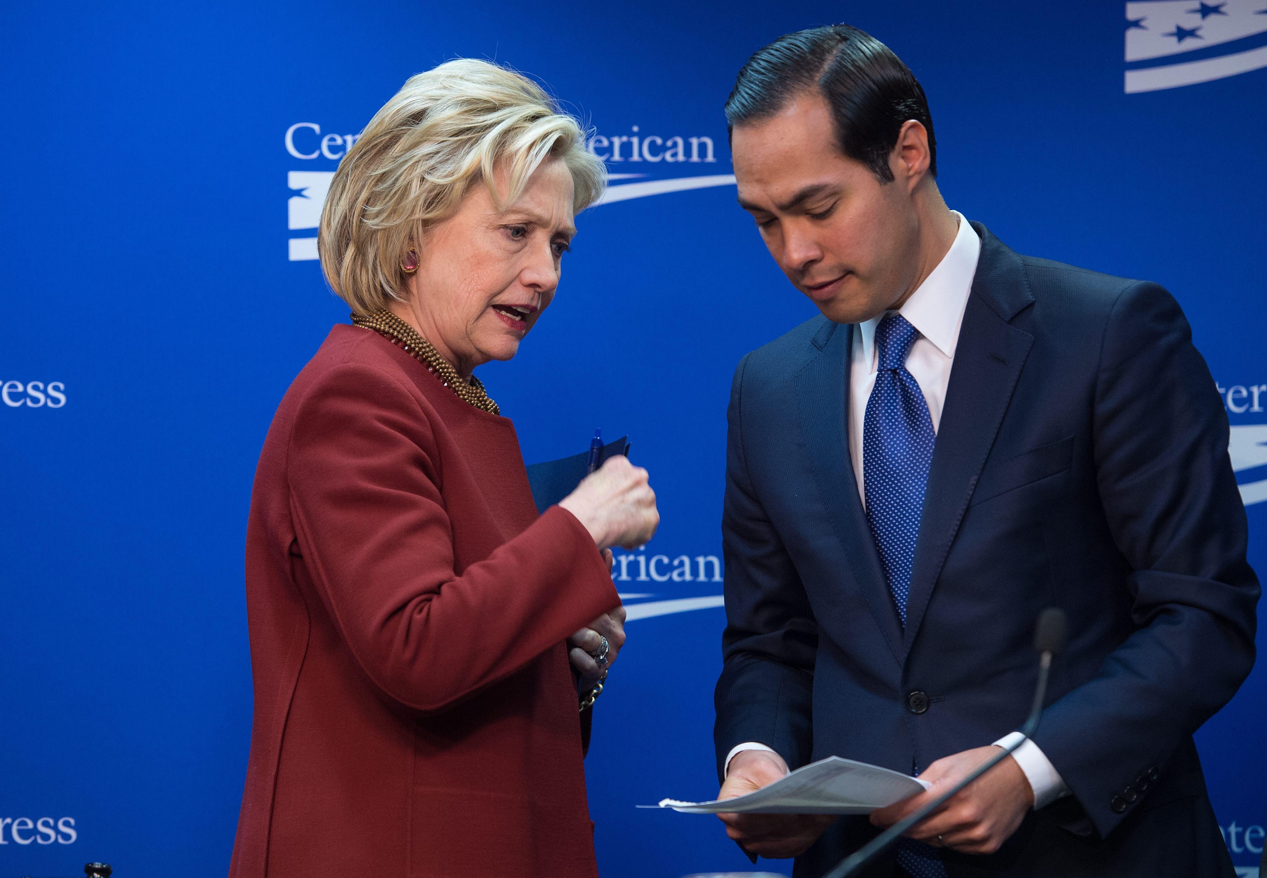 Hillary Clinton with vice presidential hopeful Julian Castro.