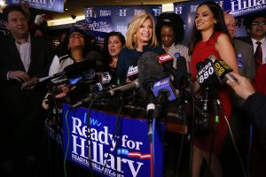 U.S. Representative Carolyn Maloney speaks to supporters of Clinton's yet to be announced presidential campaign at a rally in Manhattan.
