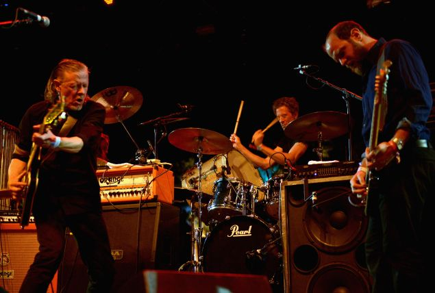 Michael Gira , Phil Puleo and Christopher Pravdica of Swans at day 2 of Coachella 2015.