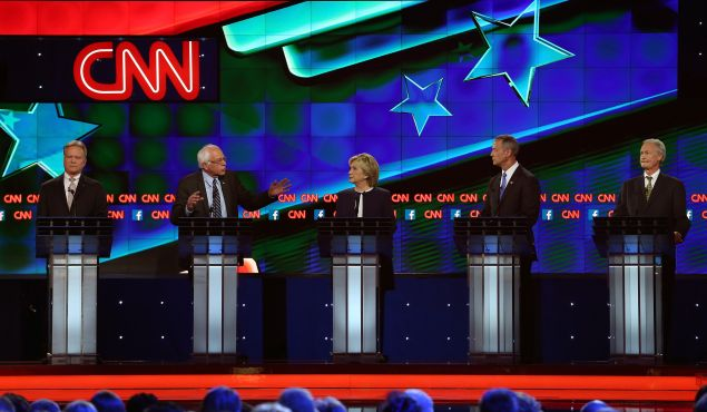 LAS VEGAS, NV - OCTOBER 13: (L-R) Democratic presidential candidates Jim Webb, U.S. Sen. Bernie Sanders (I-VT), Hillary Clinton, Martin O'Malley and Lincoln Chafee take part in presidential debate sponsored by CNN and Facebook at Wynn Las Vegas on October 13, 2015 in Las Vegas, Nevada. The five candidates are participating in the party's first presidential debate.
