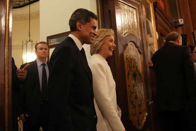 NEW YORK, NY - NOVEMBER 19: Former Secretary of State Hillary Clinton walks with Fareed Zakaria before a speech on her approach to defeating the Islamic State terrorist network in Syria, Iraq and across the Middle East at the Council on Foreign Relations on November 19, 2015 in New York City. In the wake of the Paris attacks, for which ISIS has claimed responsibility, the Democratic front-runner for president called for more allied planes and more airstrikes on ISIS as well as an increase in U.S. Special Operations forces and trainers working with regional forces