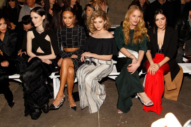 Coco Rocha, Ashley Madekwe, Willow Shields, Leven Rambin and Isabelle Fuhrman in Siriano's front row