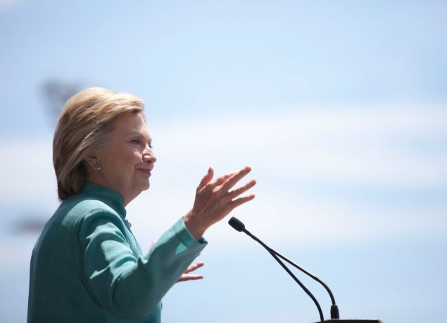 Presumptive Democratic presidential nominee Hillary Clinton speaks at a rally on the boardwalk on July 6, 2016 in Atlantic City, New Jersey. Clinton addressed presumptive Republican presidential nominee Donald Trump's business record.
