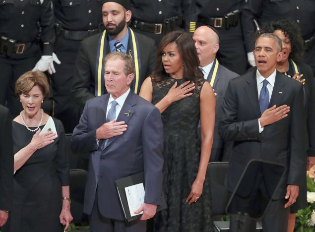 Michelle Obama at the memorial service for the slain Dallas police officers