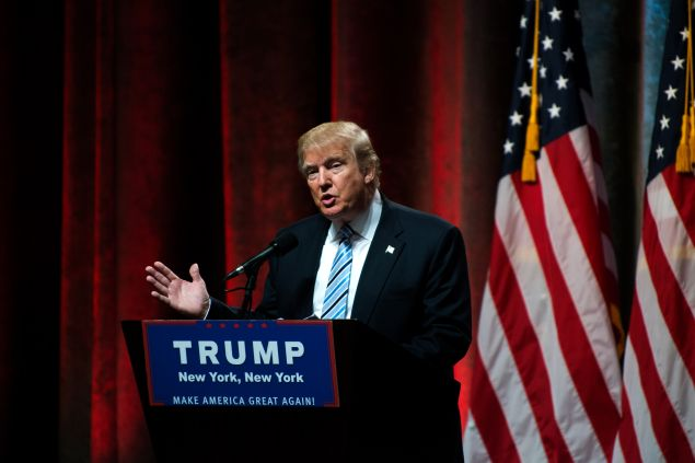 NEW YORK, NY - JULY 16: Republican presidential candidate Donald Trump speaks before introducing his vice presidential running mate Indiana Gov. Mike Pence at the New York Hilton Midtown on July 16, 2016 in New York City. Trump announced his choice on Friday via Twitter after the initial press conference was canceled due to the terrorist attack in Nice, France.
