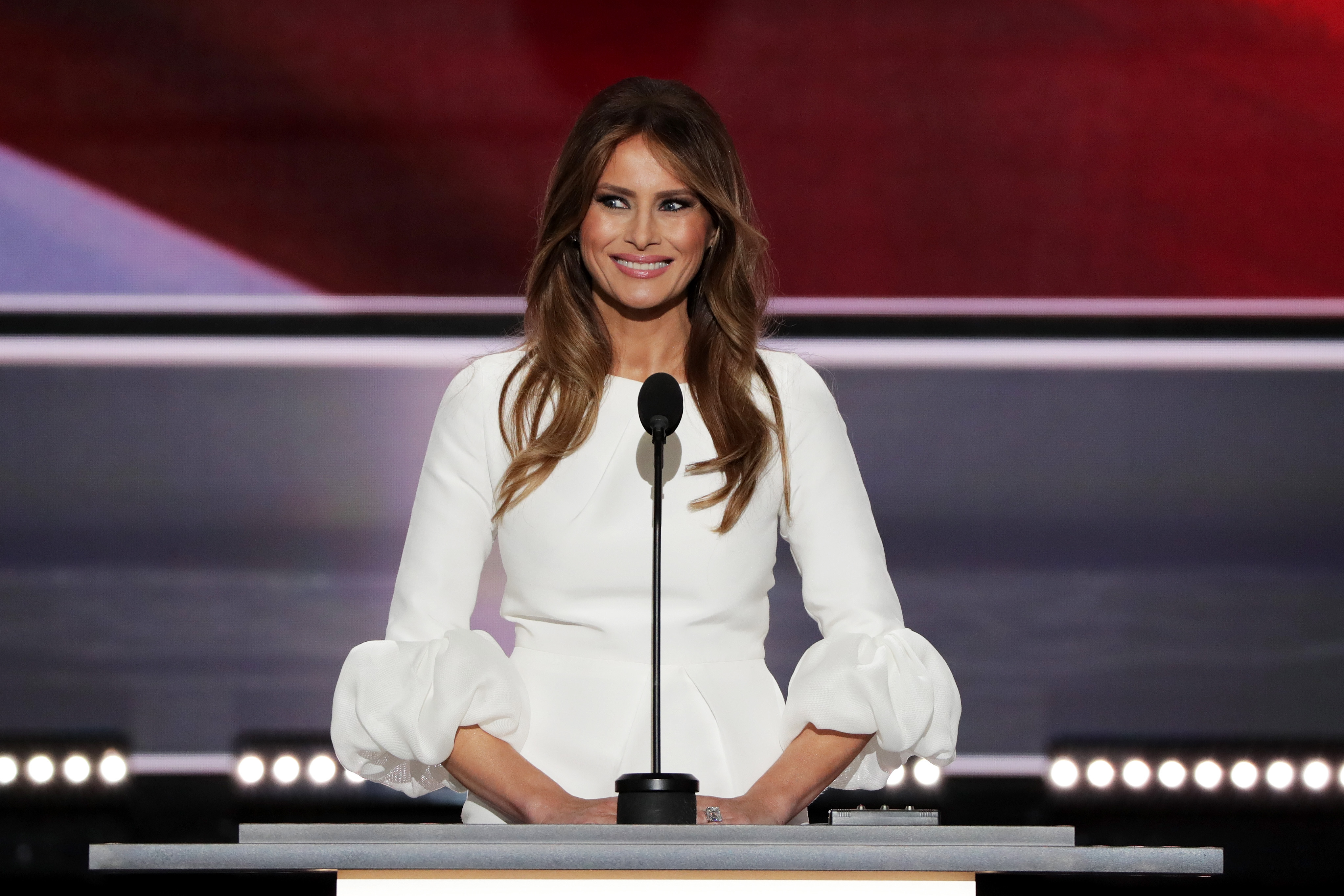 Melania Trump, wife of Presumptive Republican presidential nominee Donald Trump, delivers a speech on the first day of the Republican National Convention
