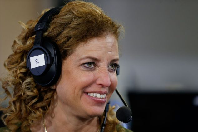 """CLEVELAND, OH - JULY 20: Debbie Wasserman Schultz, chair of the Democratic National Committee, discusses why she believes Hillary Clinton is the best candidate for the presidency, while being interviewed by Julie Mason, on """"The Press Pool"""" at Quicken Loans Arena on July 20, 2016 in Cleveland, Ohio."""