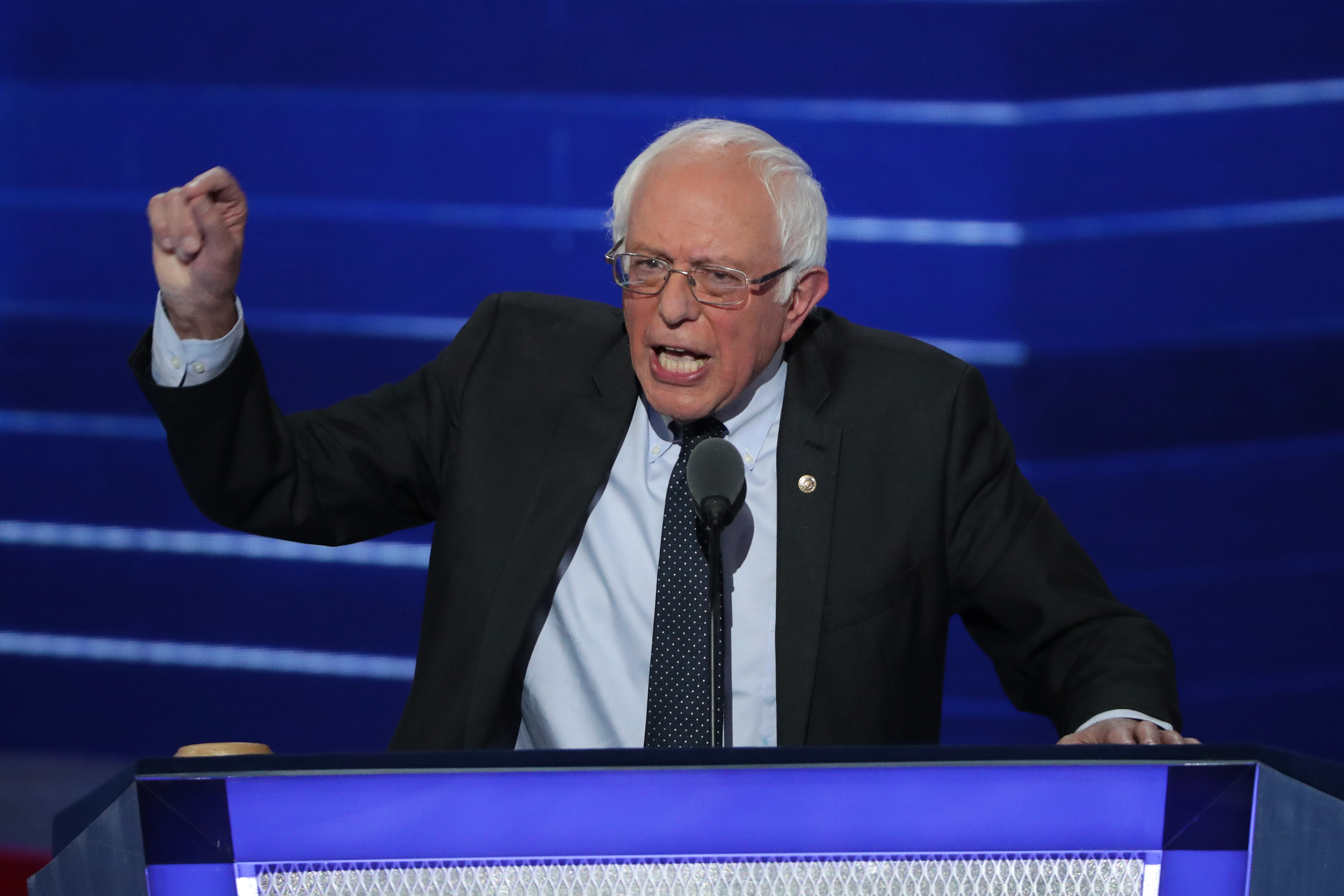 Sen. Bernie Sanders delivers remarks on the first day of the Democratic National Convention at the Wells Fargo Center, July 25, 2016 in Philadelphia, Pennsylvania.