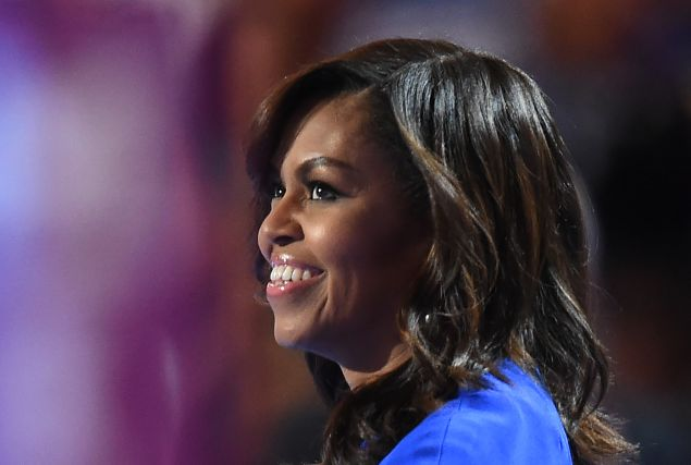 First Lady Michelle Obama speaks on the first day of the Democratic National Convention at the Wells Fargo Center, July 25, 2016 in Philadelphia, Pennsylvania.