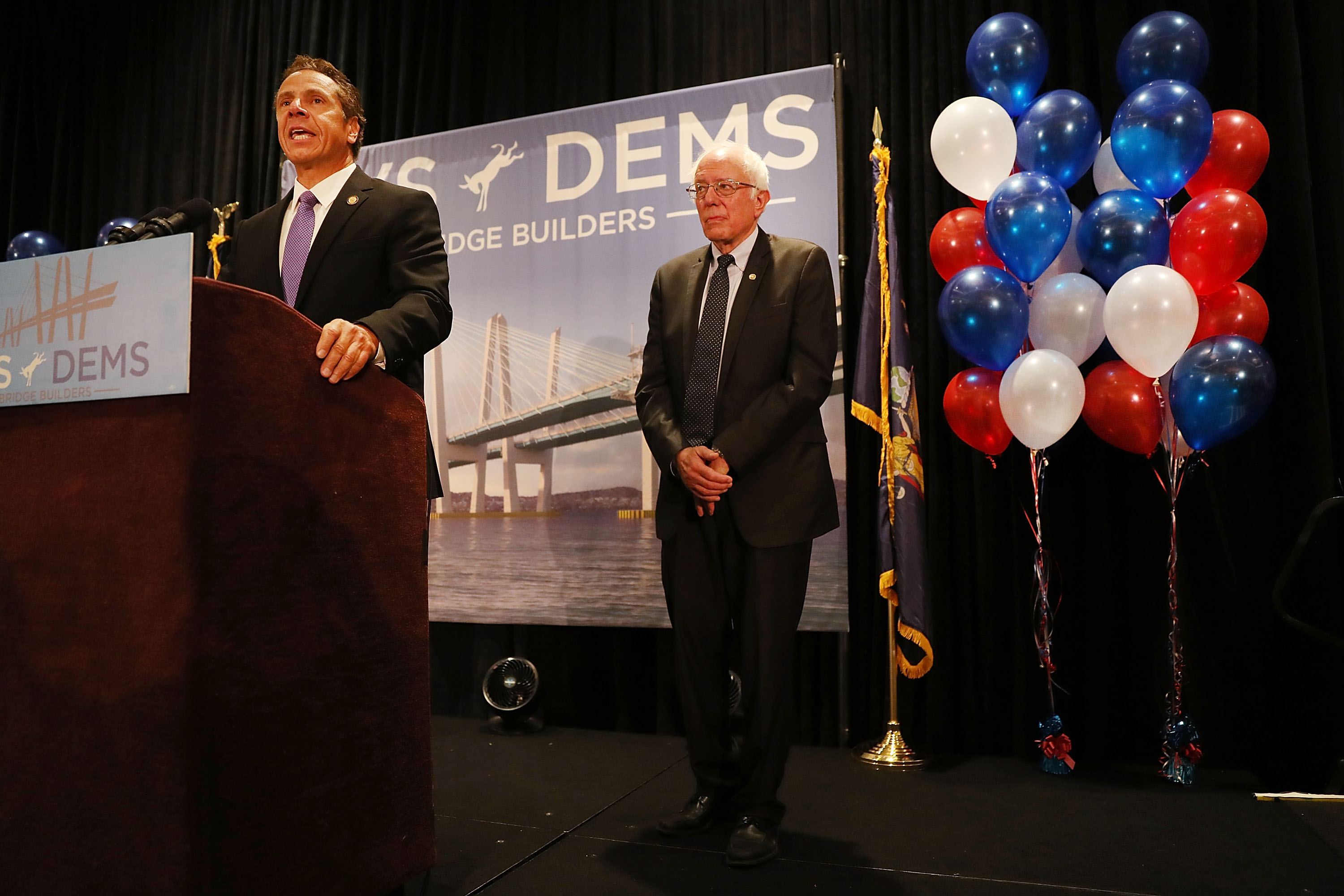 Gov. Andrew Cuomo introduces Sen. Bernie Sanders to the New York delegation at the Democratic National Convention