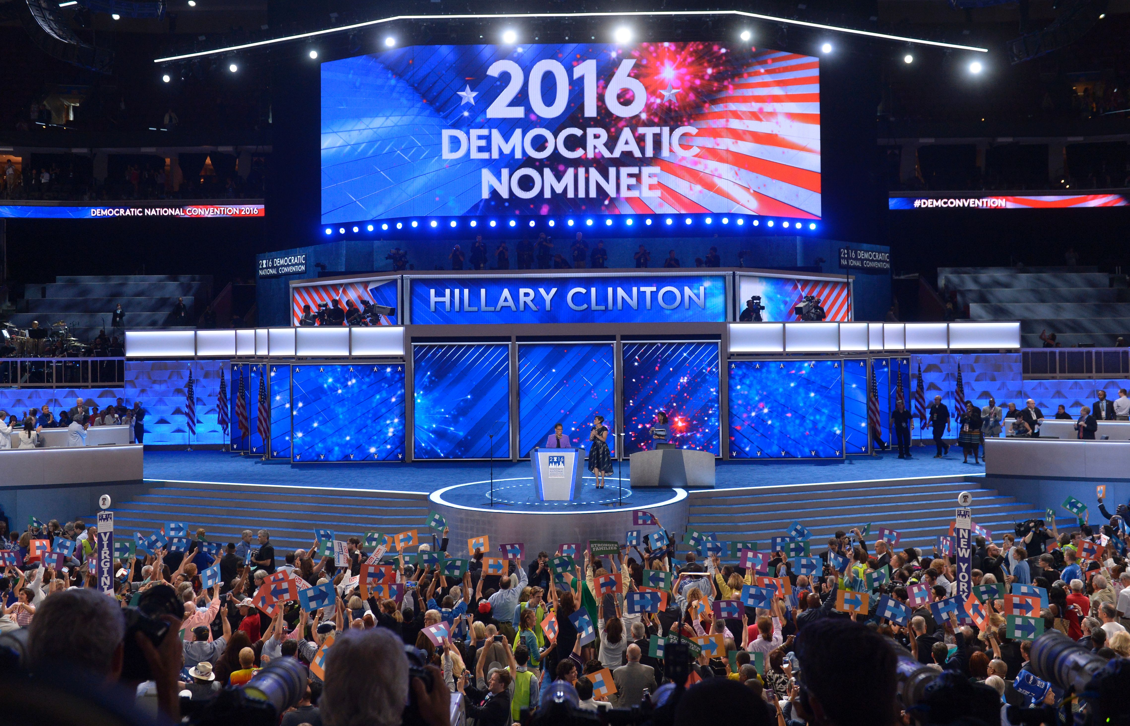 Hillary Clinton is announced as the Democratic Presidential nominee during Day 2 of the Democratic National Convention at the Wells Fargo Center in Philadelphia, Pennsylvania,