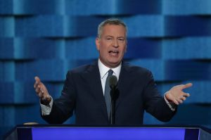 Bill de Blasio speaks at the Democratic Convention.