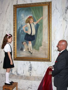 The unveiling of the Eloise portrait at the Plaza Hotel after renovations were completed, in May 2008.