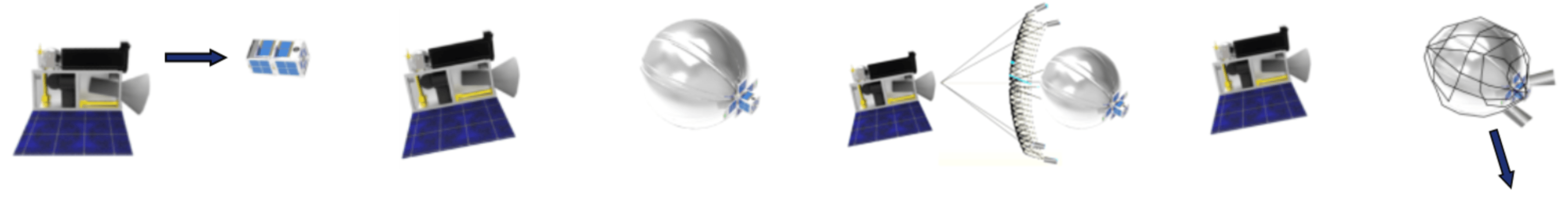 A small satellite inflates a balloon, and is captured by RemoveDebris' net.