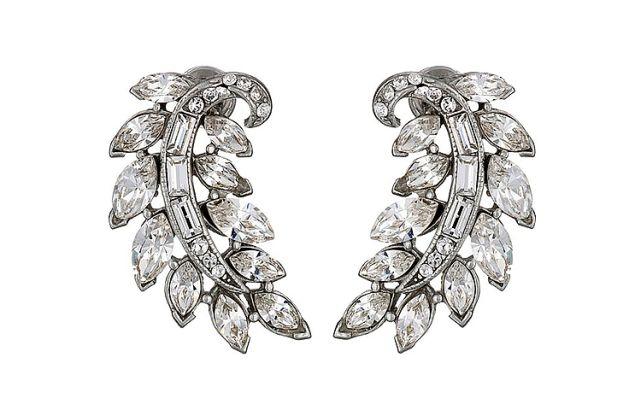 Ben Amun Crystal Feather Stud Earrings