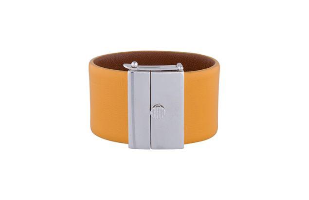 Céline Orange Leather Cuff Bracelet