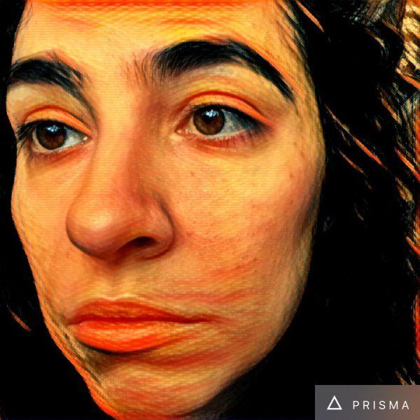 "A selfie of the author, run through Prisma's ""The Scream"" app."