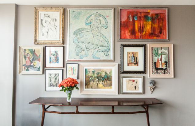 A gallery wall in the duo's home