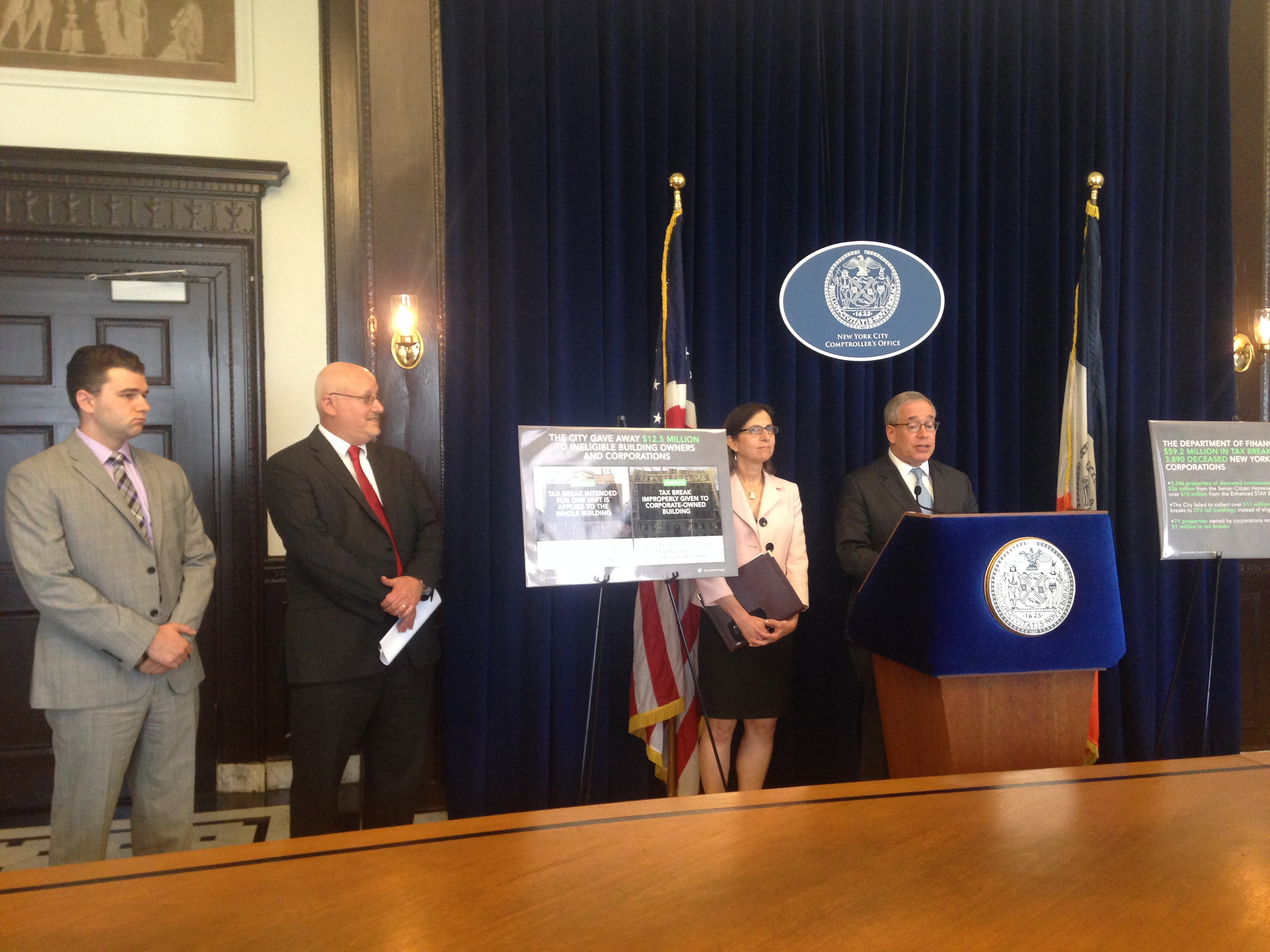 City Comptroller Scott Stringer announced the results of an audit that found that the Finance Department improperly credited tax breaks to dead individuals and corporations.
