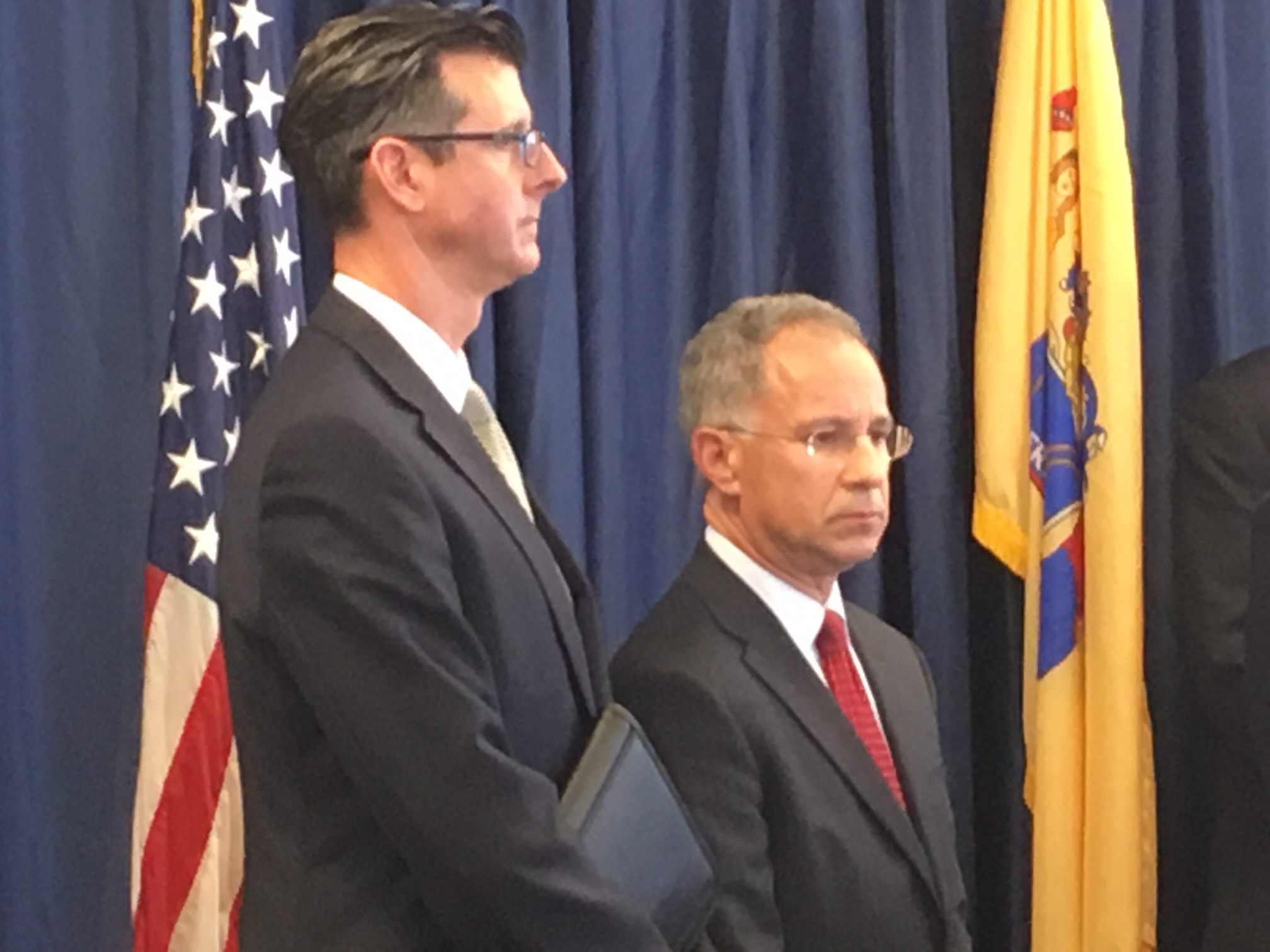 Fishman (right) during today's press conference following Samson's plea.