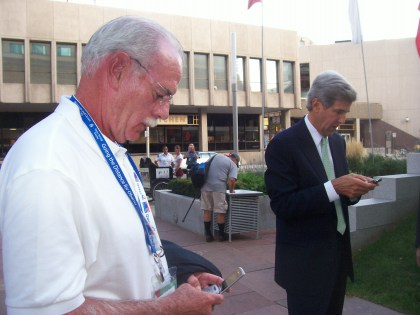 Essex Democratic Political Operative Tom Barrett, left, and future Secretary of State John Kerry in the streets of downtown Denver.