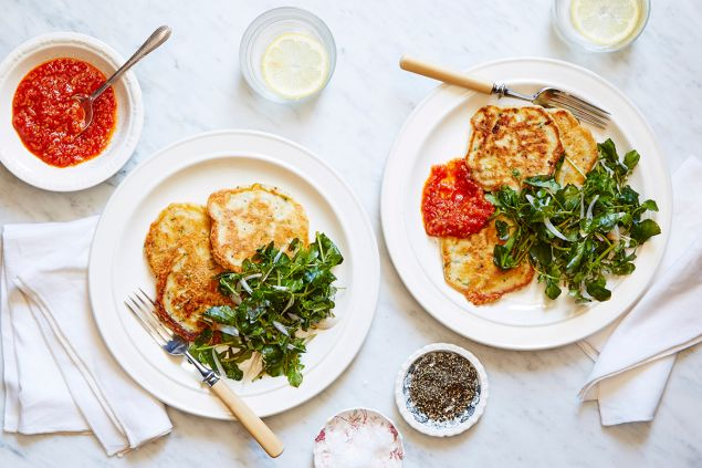 Herbed gouda pancakes with quick tomato sauce & watercress.