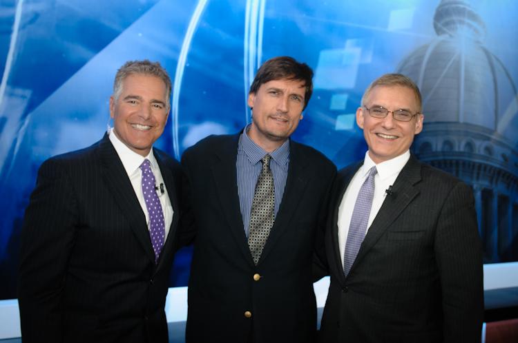 Pizarro, center, with NJ Capitol Report hosts Steve Adubato and Rafael PiRoman (right).